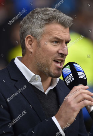Stock Picture of Rugby Union - 2015 Rugby World Cup - Quarter-Final: South Africa vs Wales Commentator and TV Presenter Dan Lobb at Twickenham