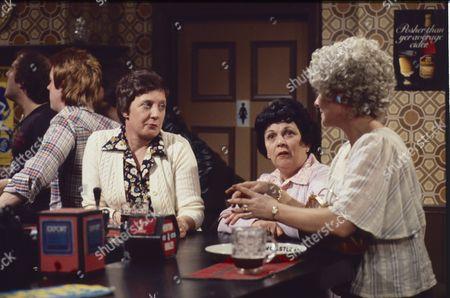 Cast member, Helene Palmer (as Ida Clough) and Elizabeth Dawn (as Vera Duckworth)