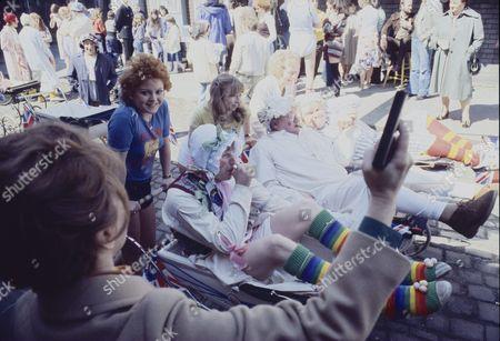 Coronation Street Pram Race. Eileen Derbyshire (as Emily Bishop) Cheryl Murray (as Suzie Birchall) Helen Worth (as Gail Potter) Fred Feast (as Fred Gee) and Geoffrey Hughes (as Eddie Yeats)