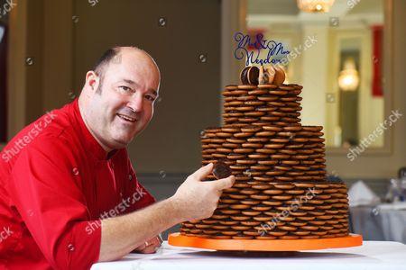 Editorial image of Couple have specially-made Jaffa Cakes wedding cake, Waltham Cross, Hertfordshire, UK - 17 Nov 2016