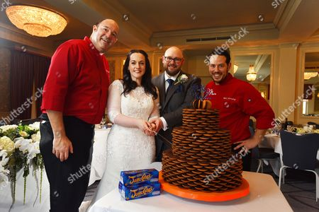 Editorial picture of Couple have specially-made Jaffa Cakes wedding cake, Waltham Cross, Hertfordshire, UK - 17 Nov 2016