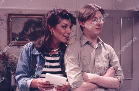 Vikki Chambers (as Sally Waterman) and Kevin Kennedy (as Curly Watts)