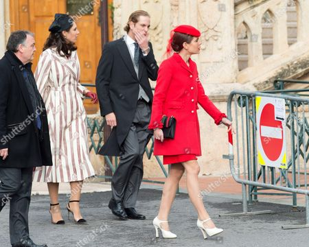 Charlotte Casiraghi, Andrea Casiraghi and Tatiana Santo Domingo attend a mass at the Cathedral of Monaco