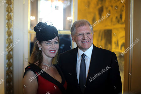 American film director Robert Zemeckis, right, poses with his wife Leslie Harter Zemeckis, prior to be awarded with the order of Arts and Letters' medal, in Paris