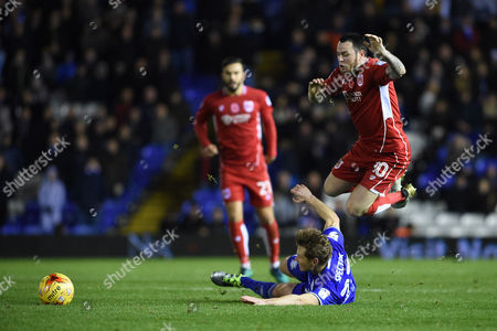 Jonathan Spector of Birmingham City challenges Lee Tomlin of Bristol City which leads to his sending off the Sky Bet Championship match between Birmingham City and Bristol City played at the St Andrews Stadium, Birmingham on 19th November 2016