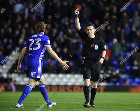 Referee Tony Harrington gives Jonathan Spector of Birmingham City a red card during the Sky Bet Championship match between Birmingham City and Bristol City played at the St Andrews Stadium, Birmingham on 19th November 2016