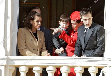 Princess Charlotte Casiraghi, Raphael Casiraghi, Princess Stephanie of Monaco, Louis Ducruet Princess Charlotte Casiraghi, center right, his son Raphael, with Princess Stephanie of Monaco, left, and her son Louis, attend from the Monaco palace to the Monaco's national day ceremony, in Monaco, . Monaco's Fete Nationale has been celebrated since the reign of Prince Charles III in 1857