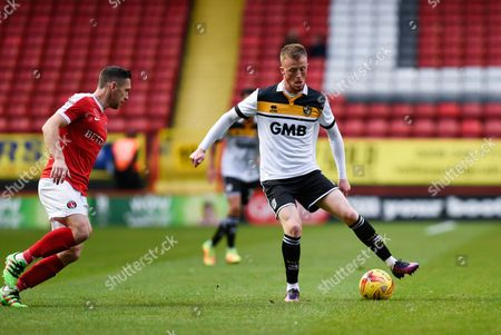Port Vale midfielder Sam Kelly (7) on the ball in midfield during the EFL Sky Bet League 1 match between Charlton Athletic and Port Vale at The Valley, London