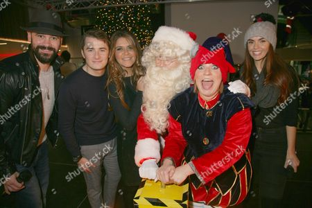 Max Bowden, Gemma Oaten, Jennifer Metcalfe and Ayden Callaghan turn on the Broad Street Mall Christmas lights