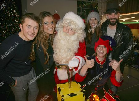Stock Picture of Max Bowden, Gemma Oaten, Jennifer Metcalfe and Ayden Callaghan turn on the Broad Street Mall Christmas lights