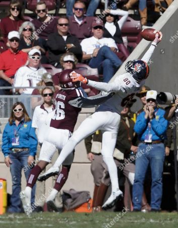 Josh Stewart, DeShawn Capers-Smith UTSA wide receiver Josh Stewart (80) makes a one-handed catch over Texas A&M defensive back DeShawn Capers-Smith (26) for a touchdown during the second quarter of an NCAA college football game, in College Station, Texas