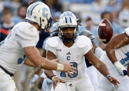 Dominique Allen, Tyler Renew The Citadel quarterback Dominique Allen (19) tosses the ball to teammate Tyler Renew, left, during the first half of an NCAA college football game against North Carolina in Chapel Hill, N.C