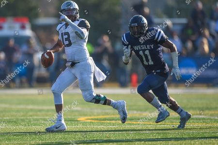 Stevenson quarterback Dan Williams (13) scrambles with the ball during the NCAA playoff matchup between the Stevenson Mustangs and the Wesley Wolverines at Scott D. Miller Stadium in Dover, De. The Mustangs made their first NCAA playoff appearance but were defeated by the Wolverines 38-17
