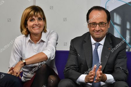 French President Francois Hollande along with Sigfox president of the board of directors Anne Lauvergeon during a visit to the headquarters of Sigfox company at the IoT Valley (Internet of Things) startup accelerator in Labege