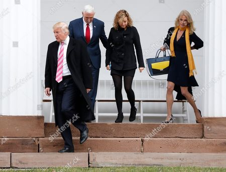 Kellyanne Conway, Mike Pence, Charlotte Pence, Donald Trump President-elect Donald Trump, from left, is joined by Vice President-elect Mike Pence, his daughter Charlotte and Kellyanne Conway as they leave services at Lamington Presbyterian Church in Bedminster, N.J