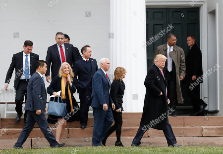 Kellyanne Conway, Mike Pence, Charlotte Pence, Donald Trump, Reince Priebus President-elect Donald Trump, foreground from right, Charlotte Pence, Vice President-elect Mike Pence, incoming White House Chief of Staff Reince Priebus and Kellyanne Conway leave services at Lamington Presbyterian Church in Bedminster, N.J