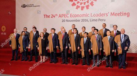 Malcolm Turnbull, Hassanal Bolkiah, Justin Trudeau, Michelle Bachelet, Xi Jinping, Pedro Pablo Kuczynski, Leung Chun-ying, Muhammad Yusuf Kalla, Shinzo Abe, Najib Razak, John Key, Peter O'Neill, Vladimir Putin, Lee Hsien Loong, James Soong, Barack Obama Leaders of Asia Pacific Economic Cooperation, APEC, front row from left, Australia's Prime Minister Malcolm Turnbull, Brunei's Sultan Hassanal Bolkiah, Canada's Prime Minister Justin Trudeau, Chile's President Michelle Bachelet, China's President Xi Jinping, Peru's President Pedro Kuczynski, Hong Kong's Chief Executive Leung Chun-ying, Indonesia's Vice President Jusuf Kalla, Japan's Prime Minister Shinzo Abe, South Korea's Prime Minister Hwang Kyo-ahn and Malaysia's Prime Minister Najib Razak, and back row from left, Mexico's Secretary of Economy Ildefonso Guajardo, New Zealand's Prime Minister John Key, Papua New Guinea's Prime Minister Peter O'Neill, Philippines's Secretary of Department of Foreign Affairs Perfecto Yasay, Russia's President Vladimir Putin, Singapore's Prime Minister Lee Hsien Loong, Taiwan 's special APEC envoy James Soong, Thailand's Deputy Prime Minister Prajin Juntong, US President Barack Obama and Vietnam's President Tran Dai Quang, pose for a group photo in Lima, Peru