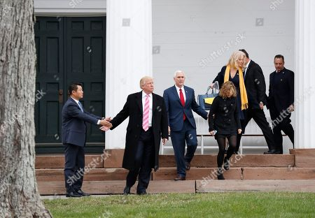 Kellyanne Conway, Mike Pence, Charlotte Pence, Donald Trump, Reince Priebus President-elect Donald Trump, joined by from left, Vice President-elect Mike Pence and his daughter Charlotte and Kellyanne Conway, and Incoming White House Chief of Staff Reince Priebus, is guided to his vehicle by a member of his secret service detail as he walks from Lamington Presbyterian Church in Bedminster, N.J., in Bedminster, after attending services