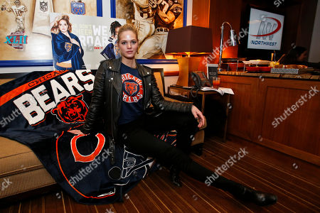 Erin Heatherton shows off her Chicago pride, styling NFL Women's Apparel at the NY Giants vs. Chicago Bears game at Metlife Stadium, in East Rutherford, NJ