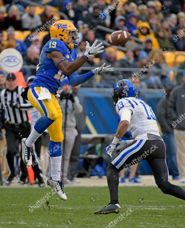 Jordan Hayes, Dontez Ford Duke safety Jordan Hayes (13) breaks up a pass intended for Pittsburgh wide receiver Dontez Ford (19) during an NCAA college football game in Pittsburgh