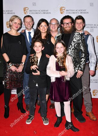 Stock Image of Maddy Darrall, Simon Reay, Catherine Williams, Jack Jameson, Anthony McPartlin Howells, Billy MacQueen, Joshua Lester and Jocelyn Macnab winners of Preschool- Live action Award for Topsy and Tim