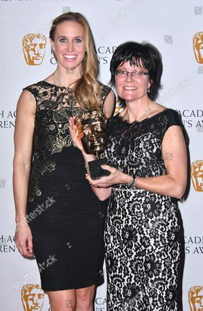 Helen Glover with Kay Benbow winner of Channel of the Year Award for Cbeebies