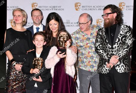 Stock Picture of Maddy Darrall, Simon Reay, Catherine Williams, Jack Jameson, Anthony McPartlin Howells, Billy MacQueen, Joshua Lester and Jocelyn Macnab winners of Preschool- Live action Award for Topsy and Tim