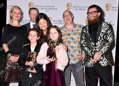 Stock Photo of Maddy Darrall, Simon Reay, Catherine Williams, Jack Jameson, Anthony McPartlin Howells, Billy MacQueen, Joshua Lester and Jocelyn Macnab winners of Preschool- Live action Award for Topsy and Tim