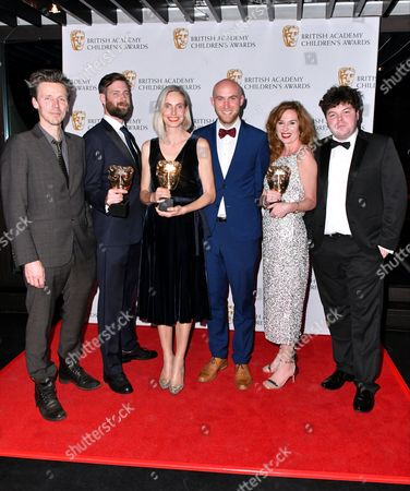 Stock Picture of Nick Wickham, Owen Kean, Serena Cross, Nick Read, Carolina Koberts-Cherry and Sam White winners of Learning- Secondary Award for 'Ten pieces II'