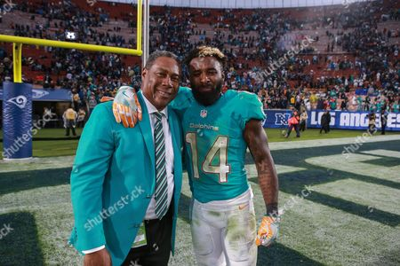 Los Angeles, CA...Nat Moore congratulating Miami Dolphins wide receiver Jarvis Landry (14) after big win after the NFL Miami Dolphins vs Los Angeles Rams at the Los Angeles Memorial Coliseum in Los Angeles, Ca on , 2016. (Absolute Complete Photographer & Company Credit: Jevone Moore / MarinMedia.org / Cal Sport Media (Network Television please contact your Sales Representative for Television usage