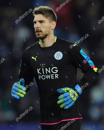 Leicester goalkeeper Ron-Robert Zieler warms up during the Champions League Group G soccer match between Leicester City and Club Brugge in Leicester, England
