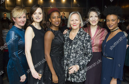Jackie Clune (Stefano/Julius Caesar/Westmorland, Glendower), Clare Dunne (Portia, Octavius Caesar/Prince Hal), Jade Anouka (Ariel/Mark Antony/Hotspur), Phyllida Lloyd (Director), Harriet Walter (Prospero/Brutus/Henry IV) and Leah Harvey (Miranda/Soothsayer/Poins, The Douglas)
