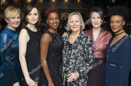 Stock Picture of Jackie Clune (Stefano/Julius Caesar/Westmorland, Glendower), Clare Dunne (Portia, Octavius Caesar/Prince Hal), Jade Anouka (Ariel/Mark Antony/Hotspur), Phyllida Lloyd (Director), Harriet Walter (Prospero/Brutus/Henry IV) and Leah Harvey (Miranda/Soothsayer/Poins, The Douglas)