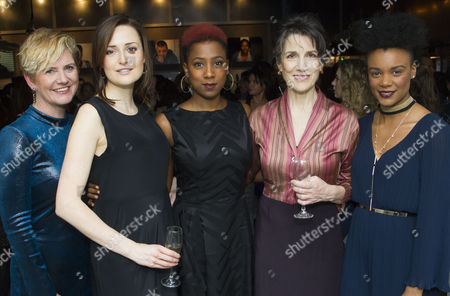 Jackie Clune (Stefano/Julius Caesar/Westmorland, Glendower), Clare Dunne (Portia, Octavius Caesar/Prince Hal), Jade Anouka (Ariel/Mark Antony/Hotspur), Harriet Walter (Prospero/Brutus/Henry IV) and Leah Harvey (Miranda/Soothsayer/Poins, The Douglas)