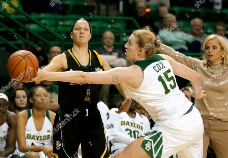 Courtney Dawsey, Lauren Cox Southeastern Louisiana guard Courtney Dawsey (1) attempts to pass the ball as Baylor's Lauren Cox (15) defends in the second half of an NCAA college basketball game, in Waco, Texas
