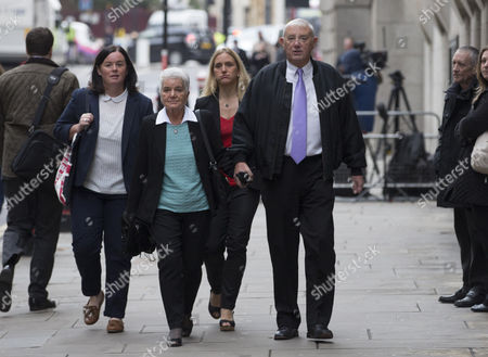 Jo Cox's sister Kim Leadbeater (back blonde hair, red top) and parents Jean (left) and Gordon Leadbeater (right) arrive at the Old Bailey.