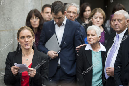 Jo Cox's sister Kim Leadbeater reads a statement in front of Brendan Cox, and parents Jean and Gordon Leadbeater outside the Old Bailey