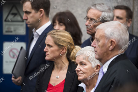 Jo Cox's family, husband Brendan Cox, sister Kim Leadbeater and parents Jean and Gordon Leadbeater outside the Old Bailey