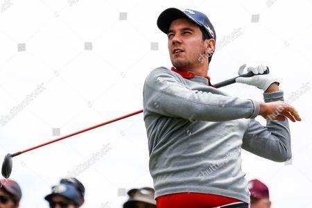 Matteo Manassero (ITA) drives during the round 1