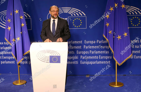 European Parliament President Martin Schultz speaks during a media conference at the European Parliament in Brussels on