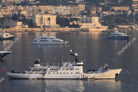 Stock Image of Motor yacht, Olivia, built by OY Laivateollisuus, length of 70 metres, built in 1972, converted from a USSR ice class hydrographical survey vessel into a yacht from 2008-2010 by Rouvia Road Yacht Design & Construction, on the Cote d'Azur, France, Mediterranean