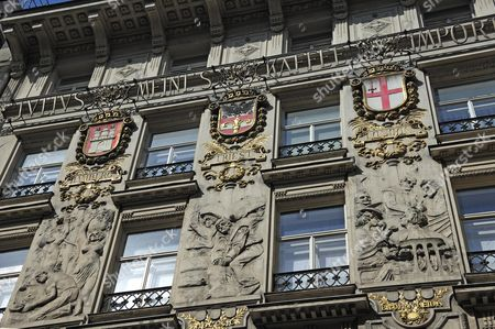 Stock Photo of Facade, 1899, of the coffee roastery Julius Meinl, with reliefs from the harvest of coffee up to the consumption in Vienna, with the coat of arms of Hamburg, Trieste and London, Fleischmarkt 7, Vienna, Austria