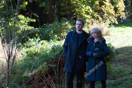 Stock Picture of Ep 9054 Monday 12 December 2016 - 1st Ep When Andy Carver, as played by Oliver Mellor, accompanies Gail Rodwell, as played by Helen Worth, to sprinkle Michael's ashes, he makes his feelings known.
