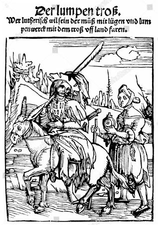 ''Of the great Lutheran fool'', historic print, woodcut, historic engraving from 1522, Thomas Murner, 1475-1537, Alsatian poet and satirist, humanist and controversial theologian of the early Reformation era, from Bildatlas zur Geschichte der Deutschen Nationalliteratur by Gustav Koennecke, illustrated atlas, 1887