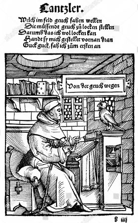 Stock Image of Thomas Murner as chancellor of the Gauchmatt, Ambrosius Holbein, historic print, woodcut, historical engraving, 1519, Thomas Murner, 1475-1537, poet and satirist, humanist and controversial theologian of the early Reformation era, from Bildatlas zur Geschichte der Deutschen Nationalliteratur by Gustav Koennecke, illustrated atlas, 1887