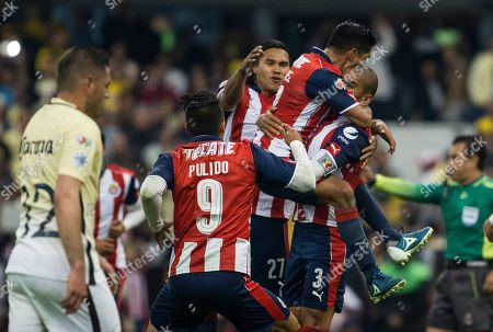 Carlos Salcido Chivas' Carlos Salcido, right, celebrates with his teammates after scoring against Americva during a Mexico soccer league match in Mexico City