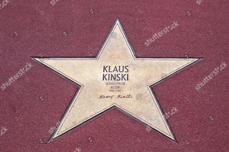 Stock Image of Star of Klaus Kinski, Boulevard der Stars, walk of stars, Potsdamer Platz square, Berlin, Germany