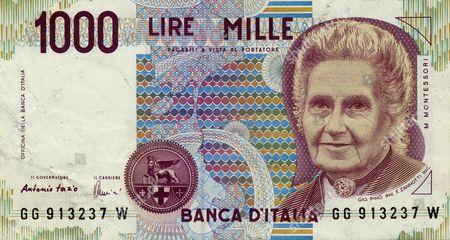 Stock Picture of Banknote, 1000 Lire, Italy, Maria Montessori, 1990