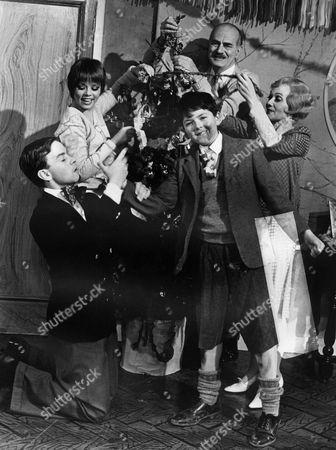 'Just William' - The Brown Family Christmas. L-R: Simon Chandler as Robert, Stacy Dorning as Ethel, Adrian Dannatt as William, Hugh Cross as Mr Brown and Diana Fairfax as Mrs Brown.