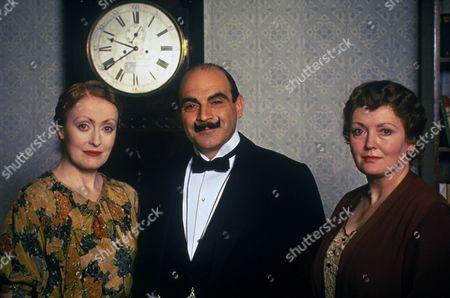 'Poirot'  - 'Hickory Dickory Dock' - (L-R): Pauline Moran as Miss Felicity Lemon, David Suchet as Hercule Poirot and Sarah Badel as Mrs Hubbard